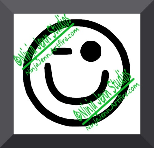 Winking Smiley Emoticon Decal Vinyl Car Sticker   Free Shipping
