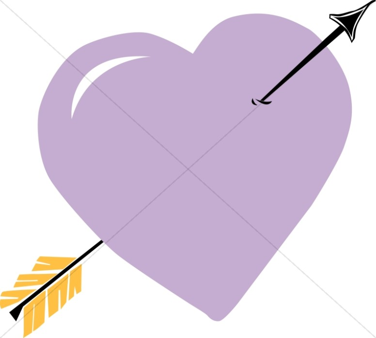 Arrow Through Purple Heart   Valentines Day Clipart