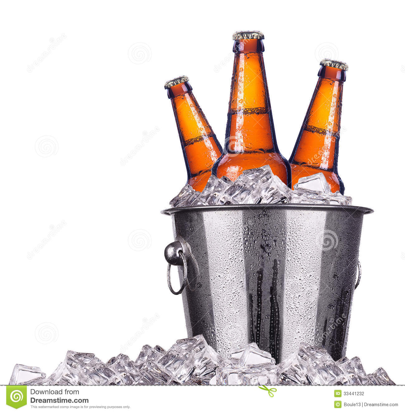 Beer Bottles In Ice Bucket Isolated Stock Photography   Image