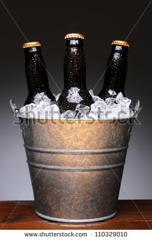 Beer Bucket Clipart Ice Bucket With Three Brown