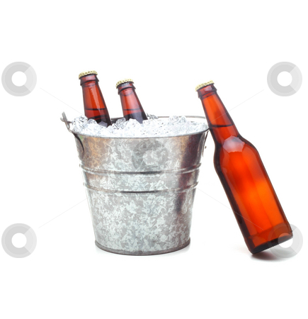 Beer Bucket With Leaning Beer Stock Photo Bucket Of Beer With One
