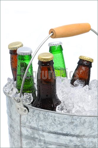 Closeup Of A Bucket Of Assorted Beer Bottles Photo  Stock Photo To