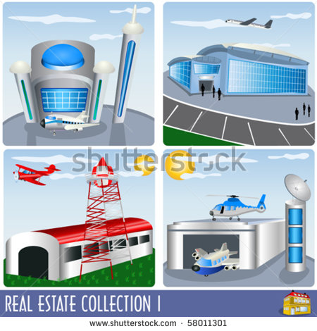 Estate Collection 1 Airport And Aircraft Hanger Illustrations