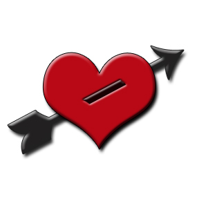 Free Clipart Picture Of A Red Heart With An Arrow Through It