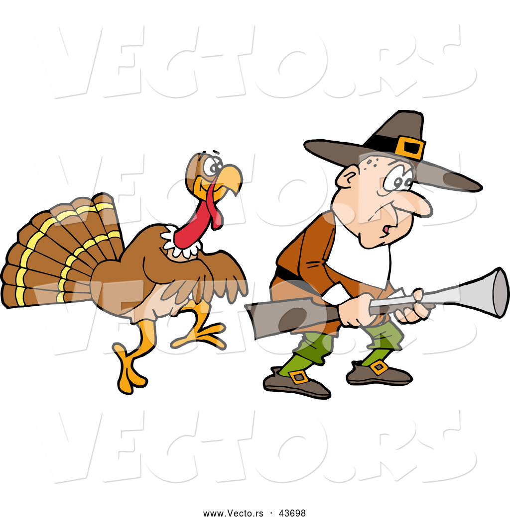 Of A Cartoon Thanksgiving Turkey Stalking A Pilgrim Hunter With A Gun
