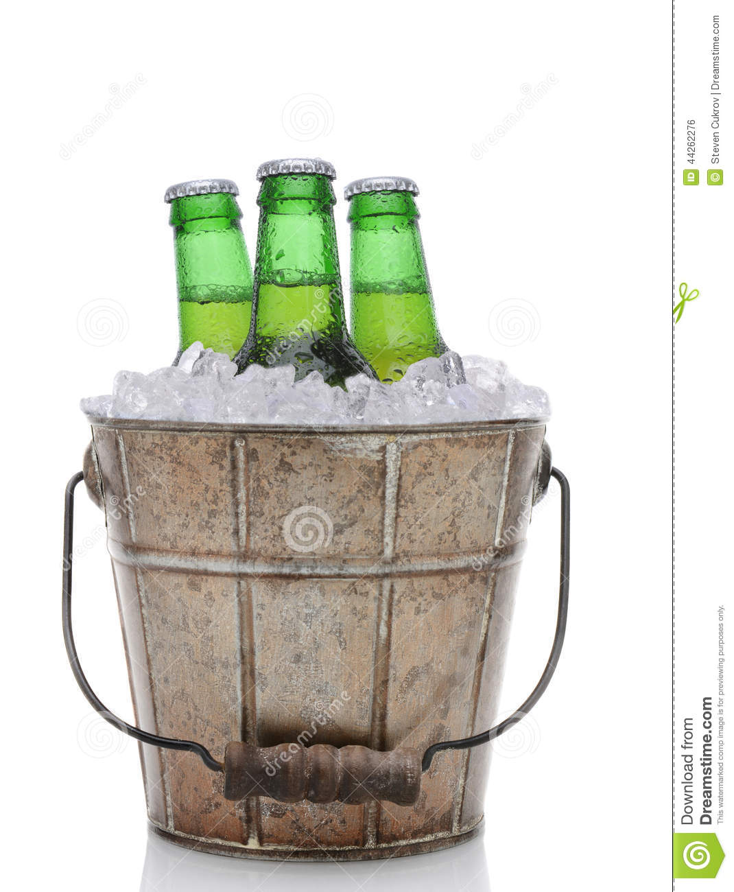 Of An Old Fashioned Beer Bucket With Three Green Bottles Of Cold Beer