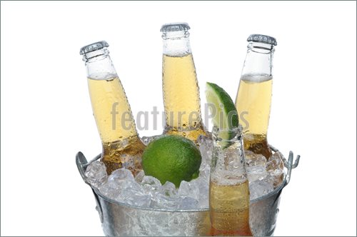Picture Of Beer Bucket With Lime And Bottle In Front