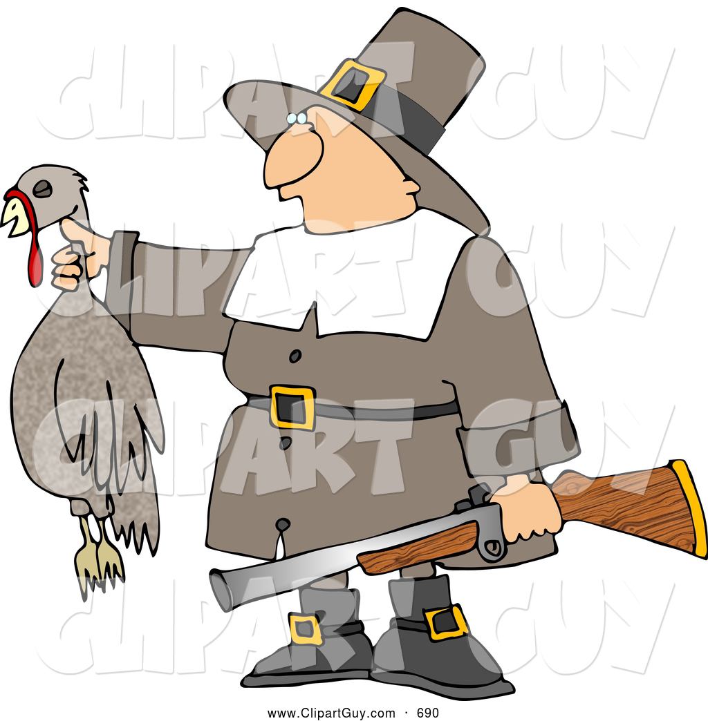 Pilgrim Hunter Holding A Dead Turkey And A Gun   Thanksgiving Holiday
