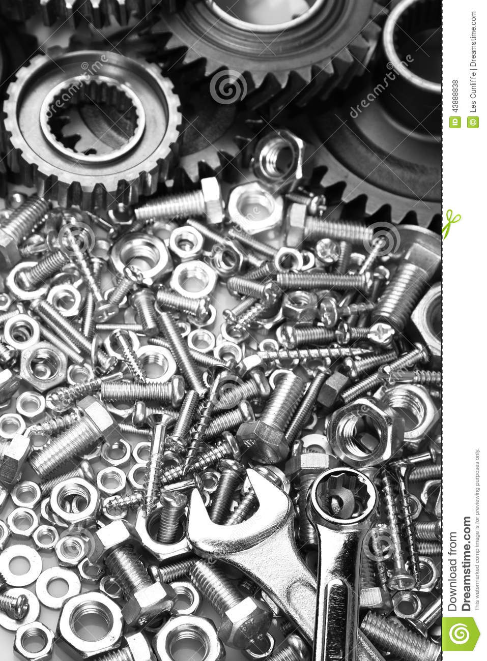 Steel Gears Nuts Bolts And Wrenches
