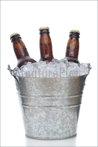 Three Brown Beer Bottles In Ice Bucket Picture  Royalty Free Photo At