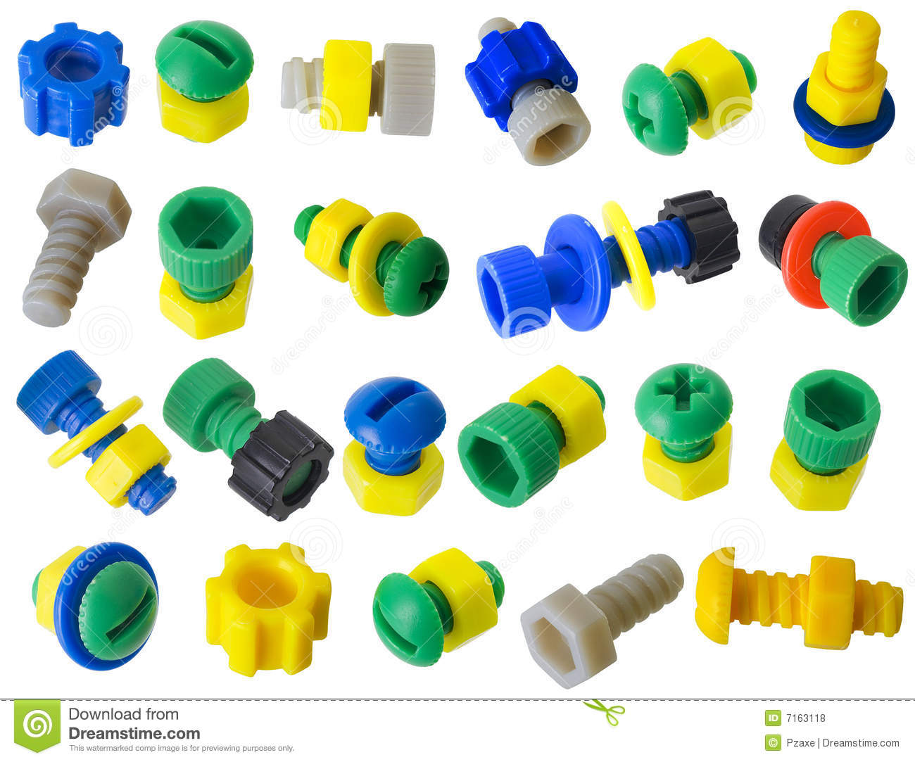 Toy Plastic Details   Bolts Nuts Gears Royalty Free Stock Photos