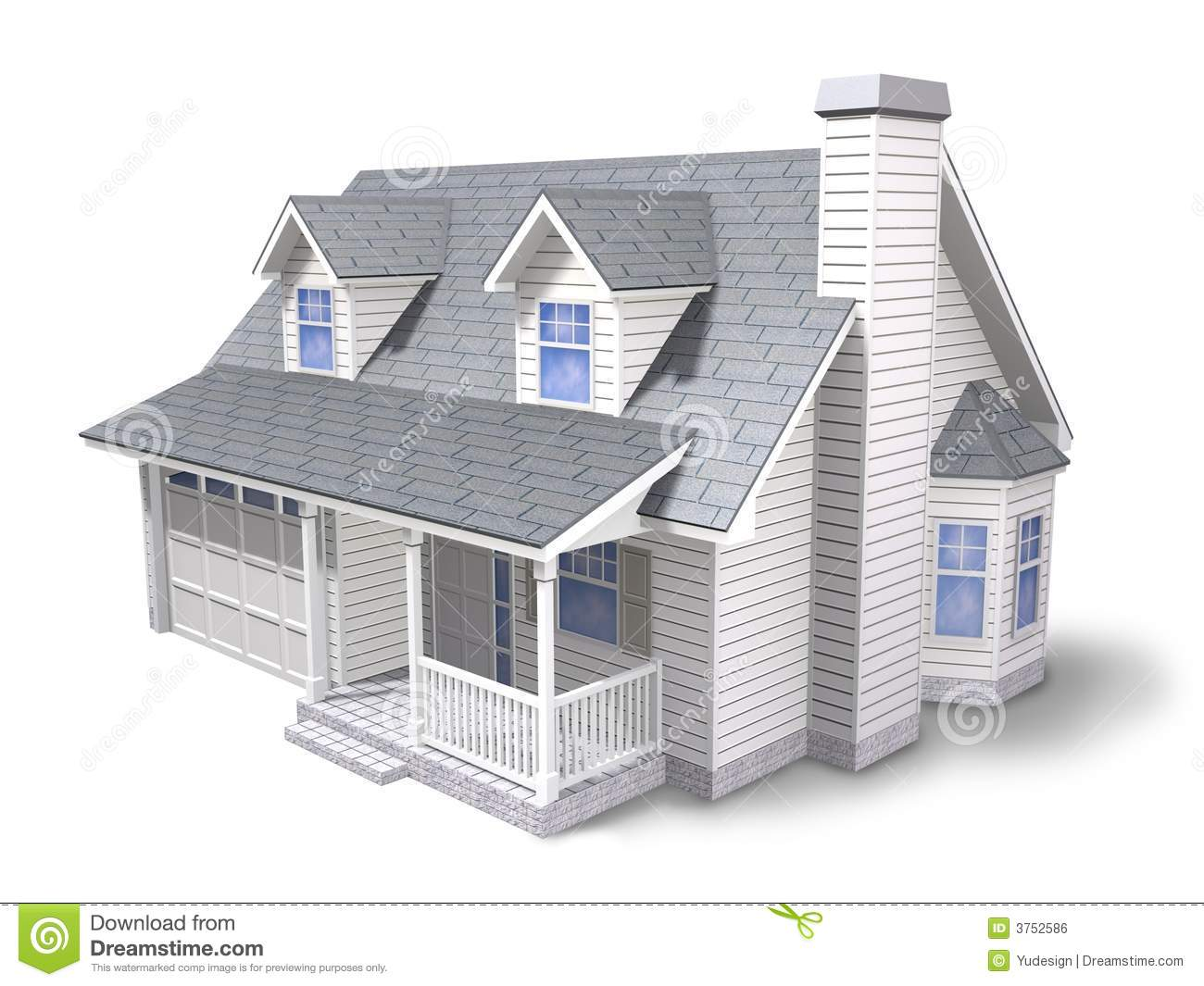 Traditional Family House  3d Rendered Illustration Over White