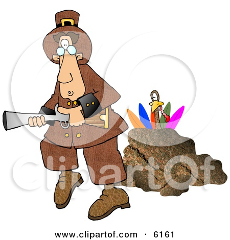 Turkey Behind A Rock Hiding From A Pilgrim With A Blunderbuss Gun