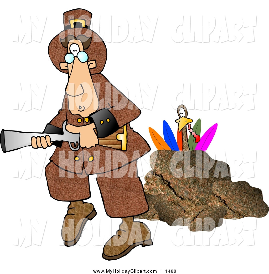 Turkey Behind A Rock Hiding From A Pilgrim With A Blunderbuss Gun By