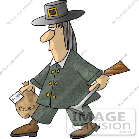 Turkey Hunter Man Carrying A Blunderbuss Gun And Frozen Turkey Clipart