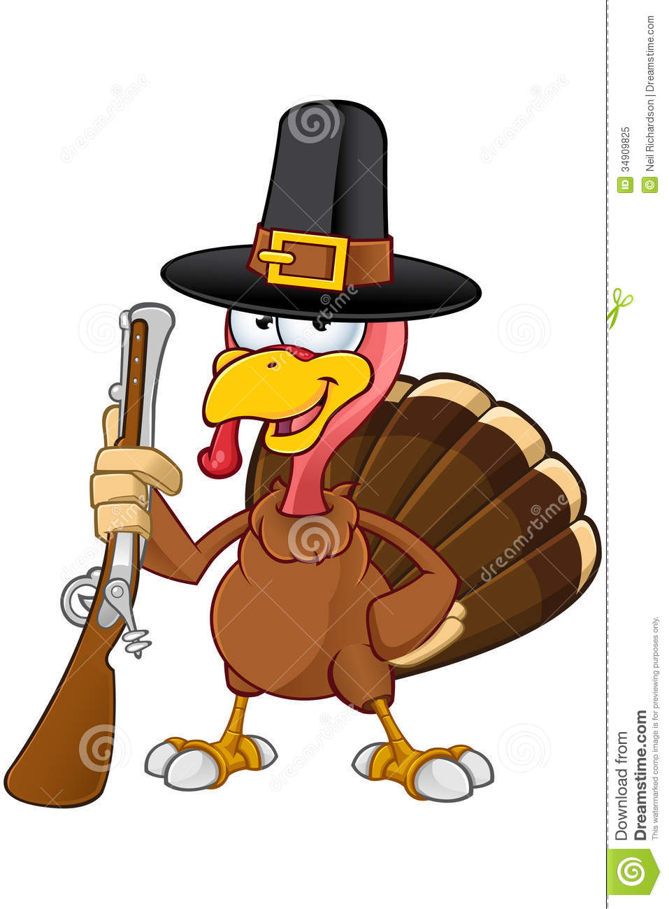 Turkey Mascot   Holding Gun Royalty Free Stock Photo   Image  34909825