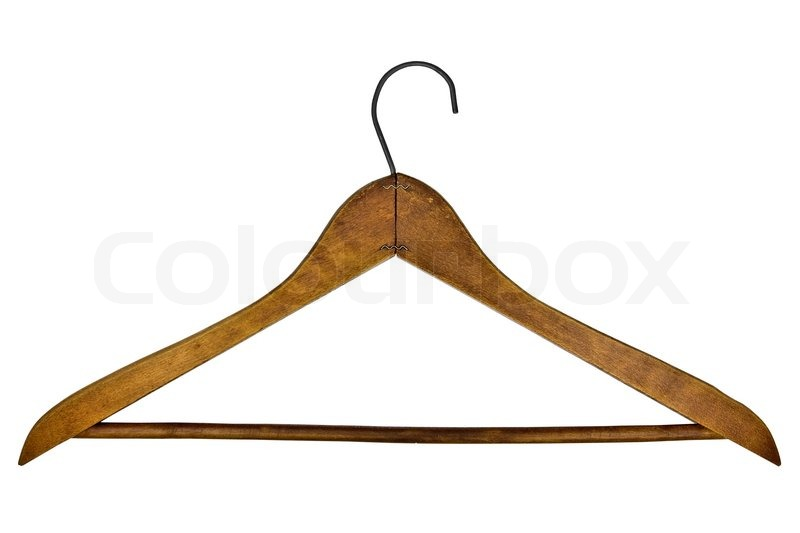 Vintage Wooden Clothes Hanger Isolated Over White Background   Stock