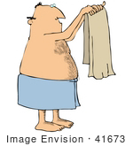 41673 Clip Art Graphic Of A Caucasian Man Holding Up A Towel