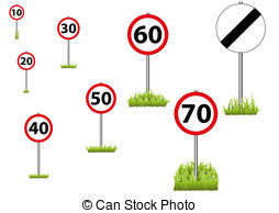 57 Road And 30 Sign   A Selection Of Speed Limit Roadsigns