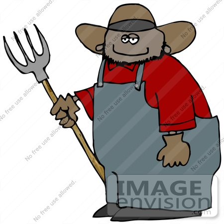 African American Farmer Man With A Pitchfork Clipart    14760 By Djart