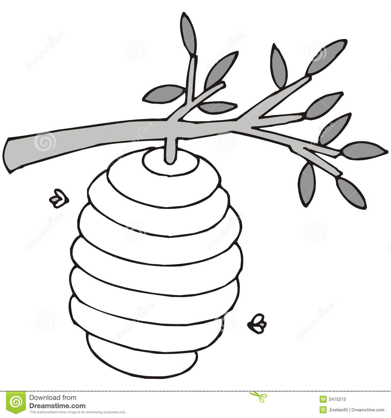Beehive black and white clipart