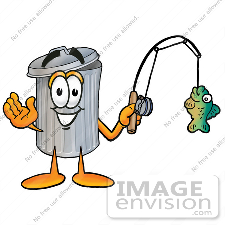 Clip Art Graphic Of A Metal Trash Can Cartoon Character Holding A Fish
