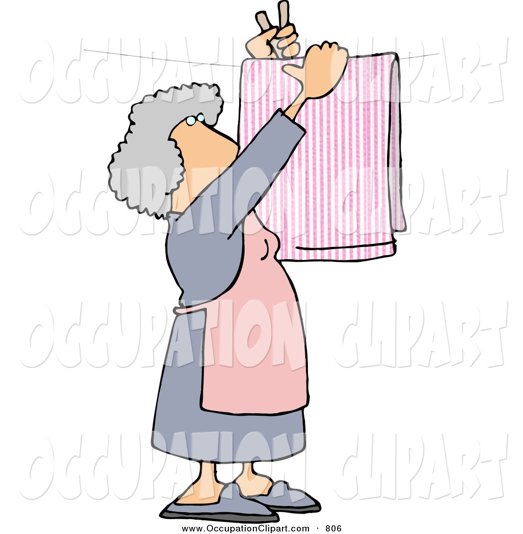 Clip Art Of A Caucasian Housewife Hanging Laundry Out To Dry On A