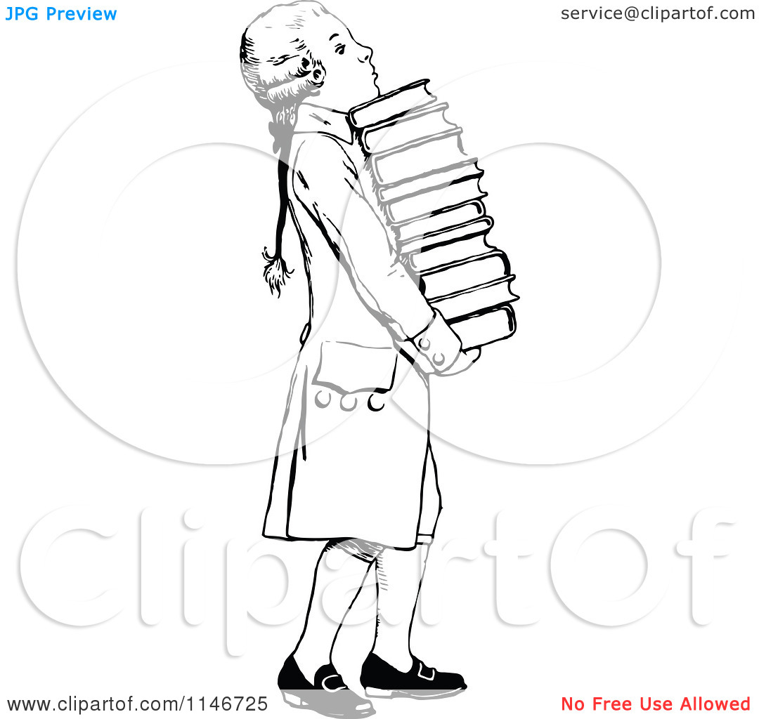Clipart Of A Retro Vintage Black And White Wig Boy Carrying Books