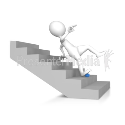 Figure Falling Down The Stairs   Presentation Clipart   Great Clipart