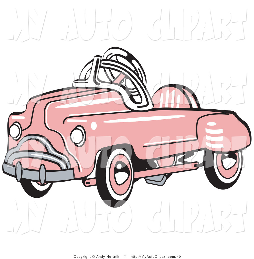 Larger Preview  Clip Art Of A Pink Metal Pedal Convertible Toy Car