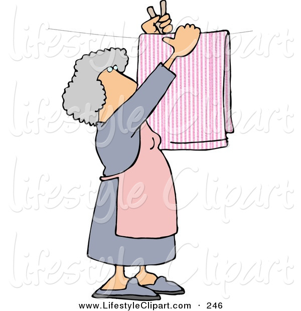 Lifestyle Clipart Of An Elderly Housewife Hanging Laundry Out To Dry