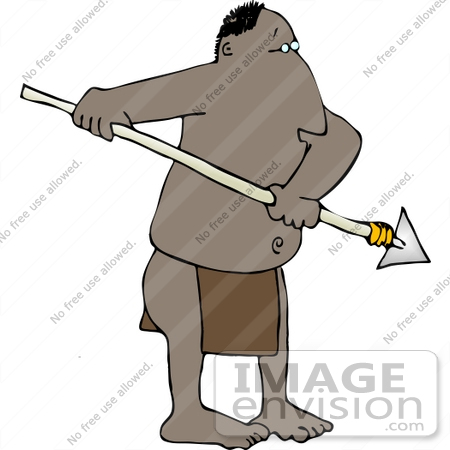 Native African Man In A Loincloth Holding A Spear Clipart    14657 By