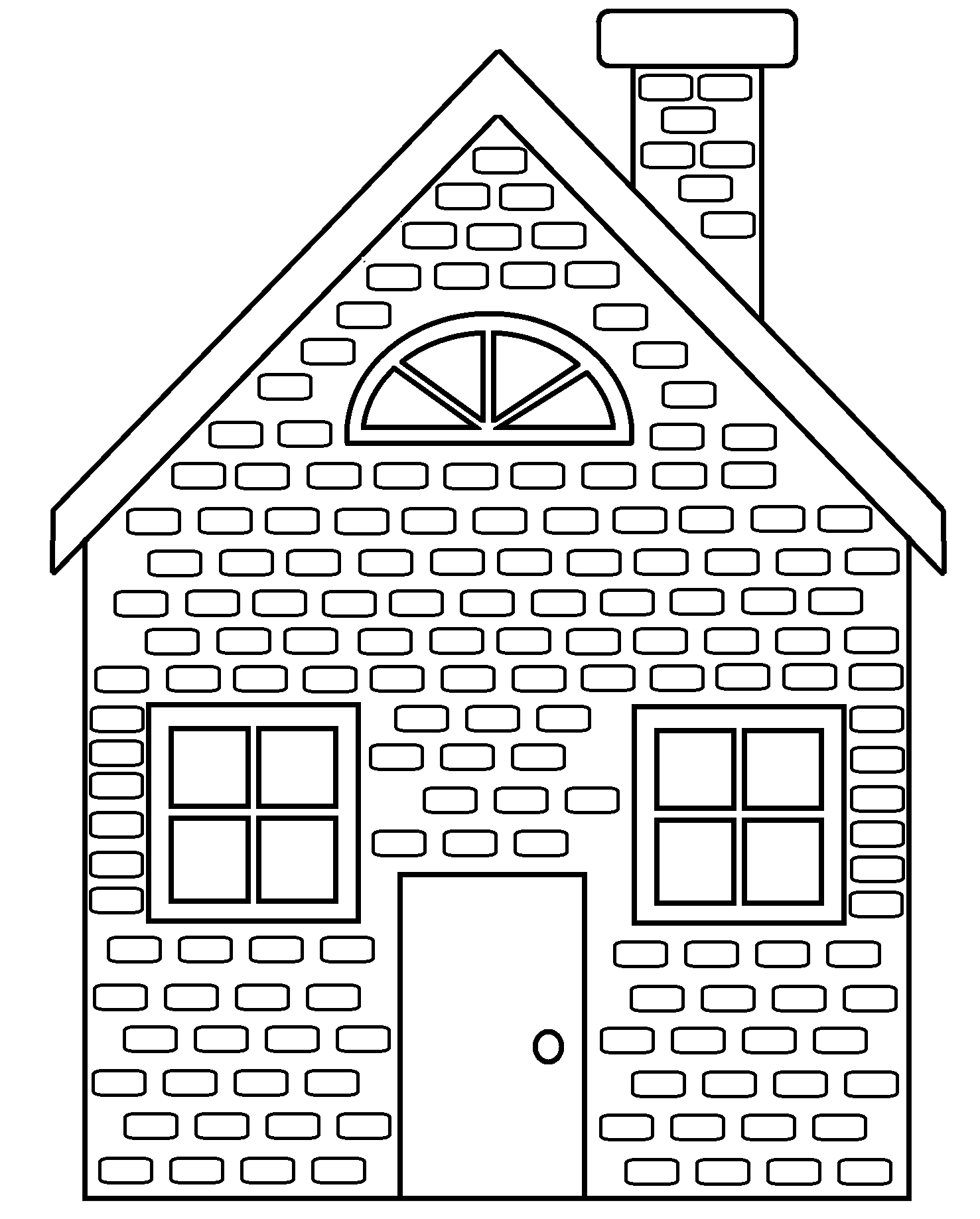 Little Pigs Brick House Colouring Pages