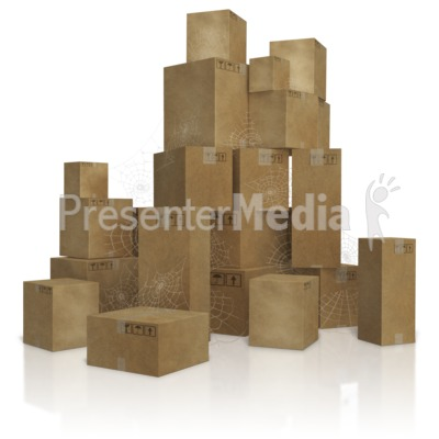 Pile Of Old Slow Moving Inventory Boxes   Presentation Clipart   Great