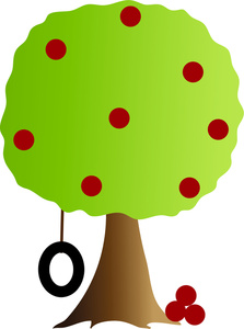 Apple Tree Clipart Image   Cartoon Apple Tree With A Tire Swing