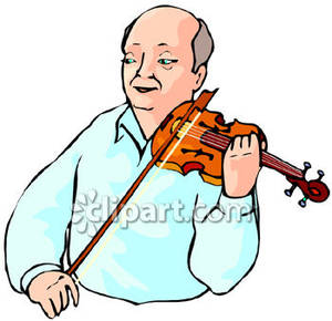 Bald Man Playing The Fiddle   Royalty Free Clipart Picture