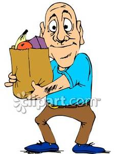 Bald Man With A Bag Of Groceries   Royalty Free Clipart Picture