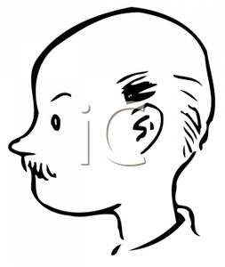 Bald Man With A Mustache   Royalty Free Clipart Picture
