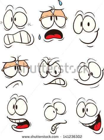 Cartoon Faces  Vector Clip Art Illustration  Each On A Separate Layer