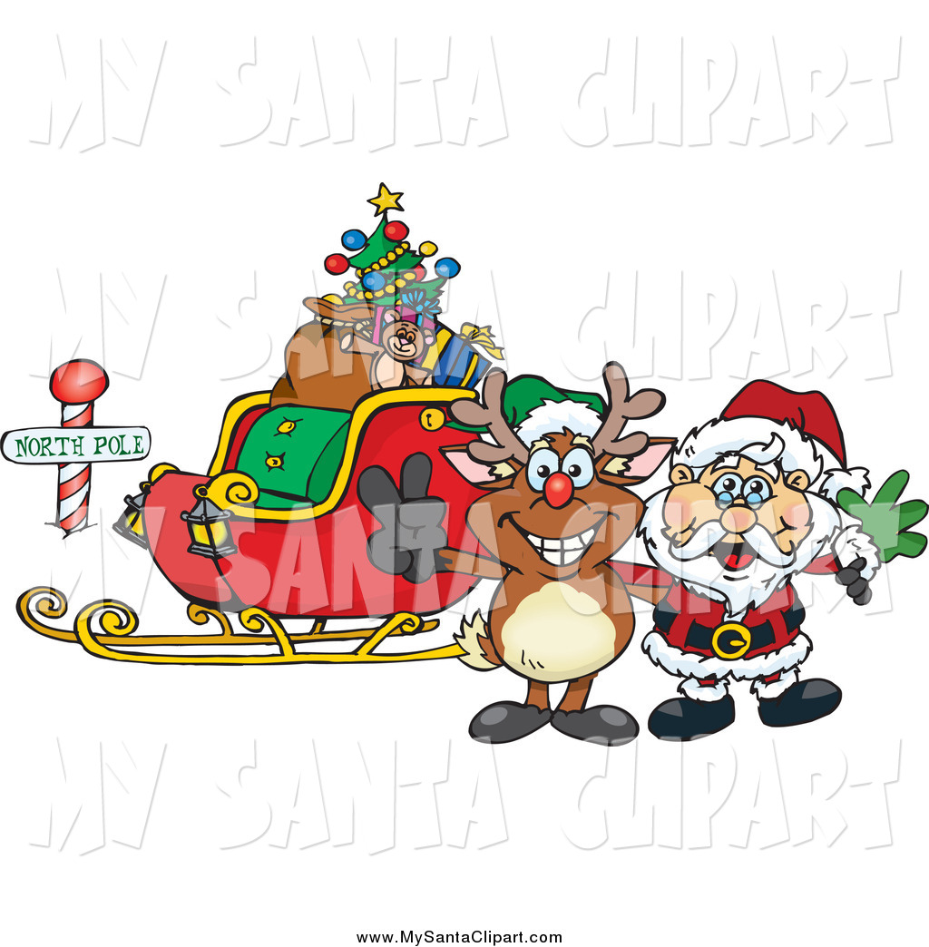 Christmas Clip Art Of A Sleigh With Santa And Rudolph At The North