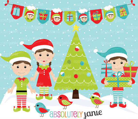 Christmas Elf Clipart Set   North Pole   Holiday Digital Clip Art