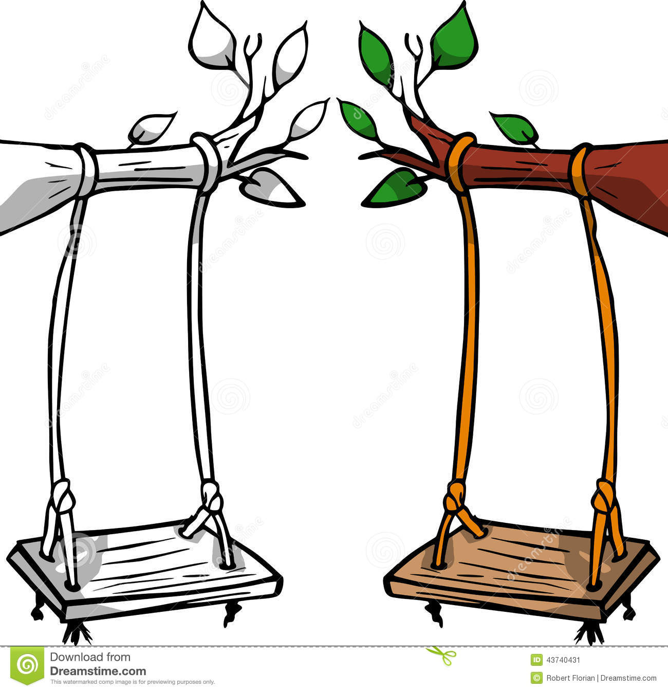 Hand Drawn Vector Swing On Tree  Colored And Black And White