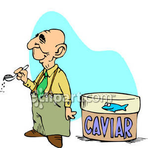Old Rich Guy Eating Caviar   Royalty Free Clipart Picture