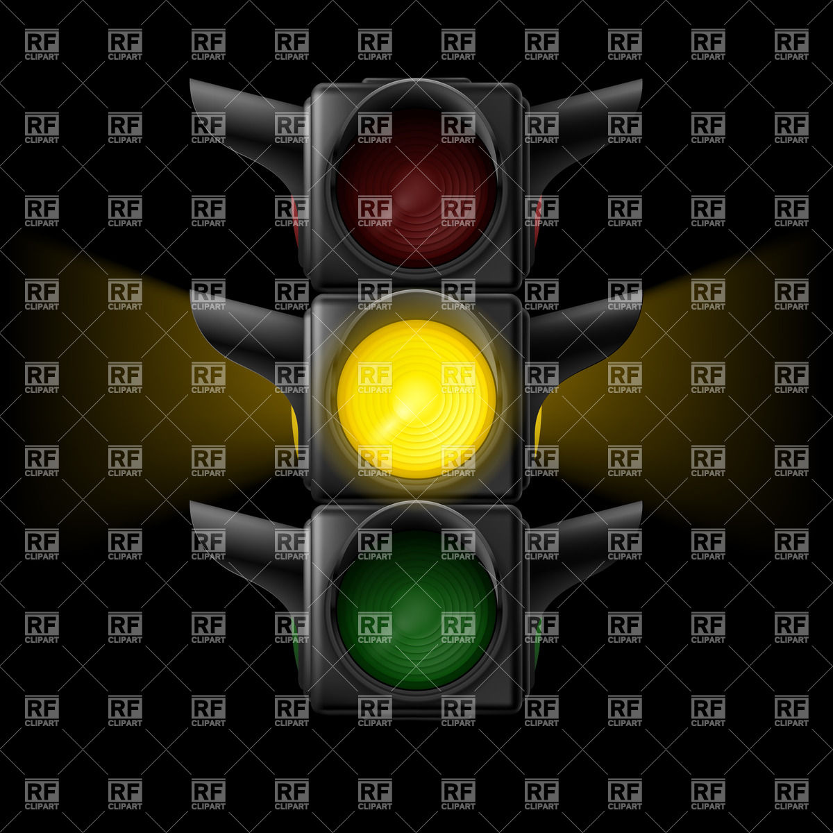 Realistic Traffic Lights With Yellow Signal Transportation Download