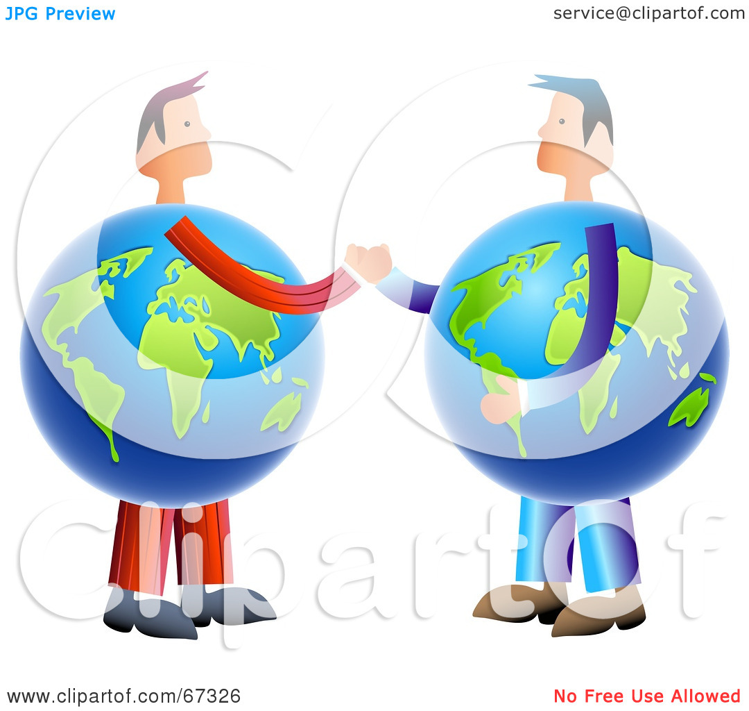 Rf  Clipart Illustration Of Globe Business Men Shaking Hands By Prawny