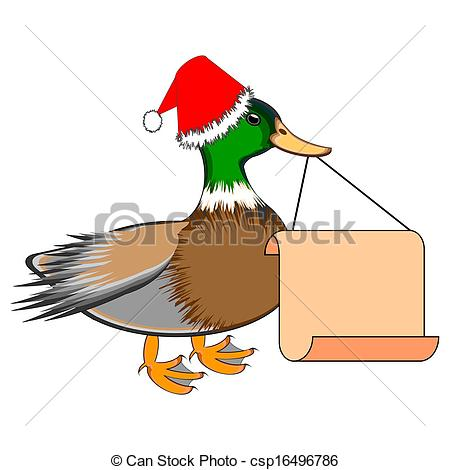 Vector   A Christmas Duck With A Big Blank Paper In His Beak   Stock