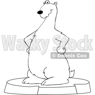 Clipart Outlined Cartoon Polar Bear Standing On An Ice Berg   Royalty