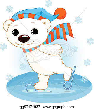 Illustration Of Cute Polar Bear On Ice Skates  Eps Clipart Gg57171937