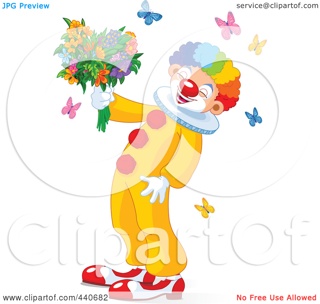 Royalty Free  Rf  Clip Art Illustration Of A Laughing Clown Holding