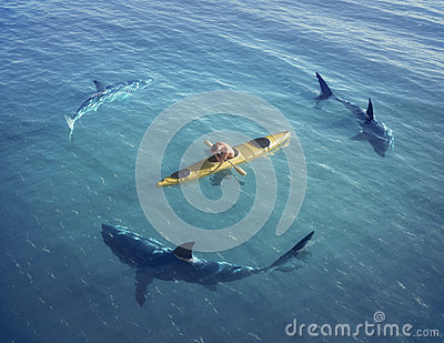 Royalty Free Stock Photography  A Man In A Boat Kayak  Was Trapped In